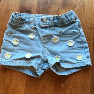 Cute Jean shorts with embroidered daisies (3t)